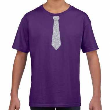 Paars t shirt zilveren stropdas kinderen