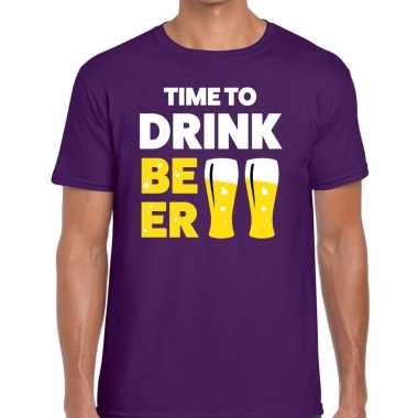 Paars time to drink beer fun t shirt heren