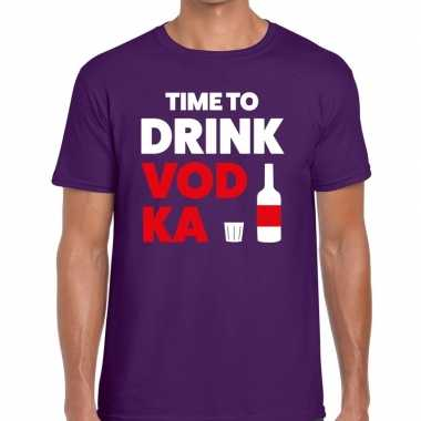 Paars time to drink vodka fun t shirt heren