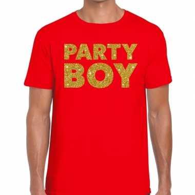 Party boy fun t shirt rood heren