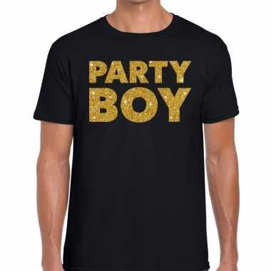 Party boy fun t shirt zwart heren