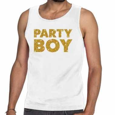 Party boy fun tanktop / mouwloos shirt wit heren
