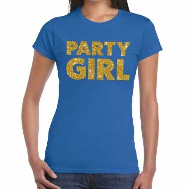 Party girl fun t shirt blauw dames