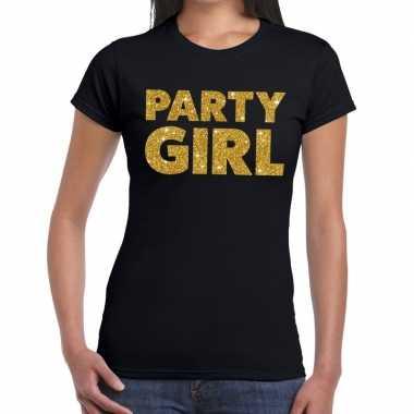 Party girl fun t shirt zwart dames