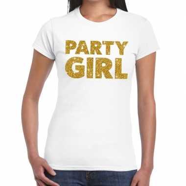 Party girl goud fun t shirt wit dames