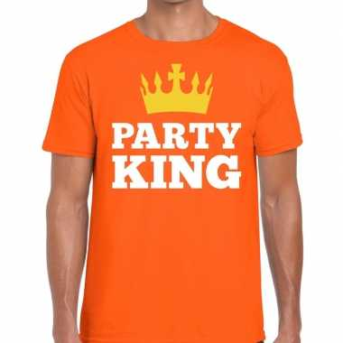 Party king t shirt oranje heren