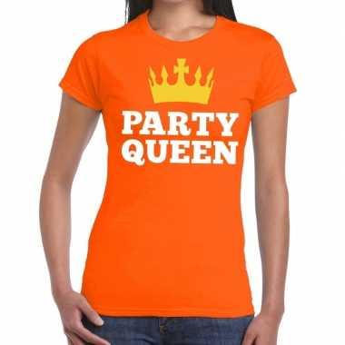 Party queen t shirt oranje dames