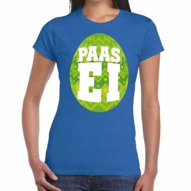Pasen shirt blauw groen paasei dames