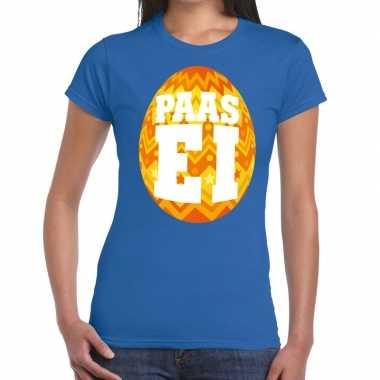 Pasen shirt blauw oranje paasei dames