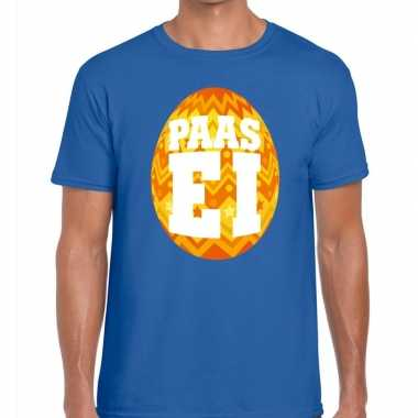 Pasen shirt blauw oranje paasei heren