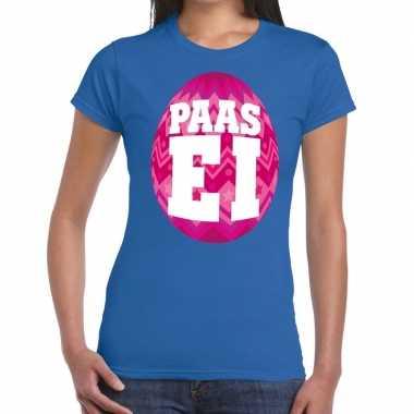 Pasen shirt blauw roze paasei dames