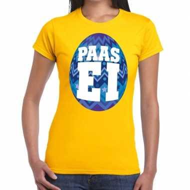 Pasen shirt geel blauw paasei dames