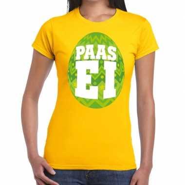 Pasen shirt geel groen paasei dames