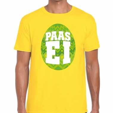 Pasen shirt geel groen paasei heren