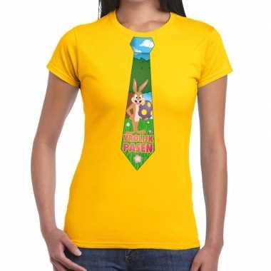 Pasen shirt geel paashaas stropdas dames