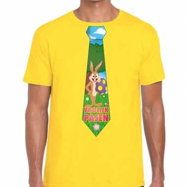 Pasen shirt geel paashaas stropdas heren