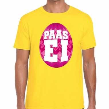 Pasen shirt geel roze paasei heren