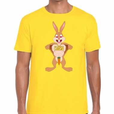 Pasen shirt geel verliefde paashaas heren
