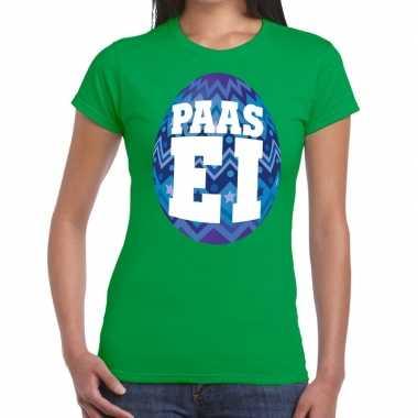 Pasen shirt groen blauw paasei dames