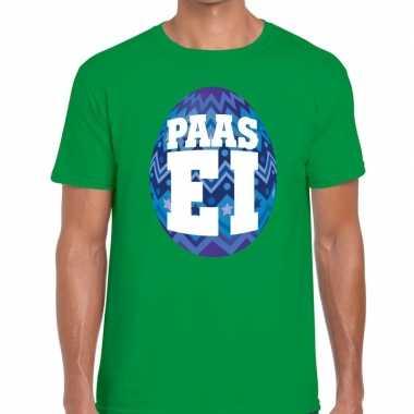 Pasen shirt groen blauw paasei heren