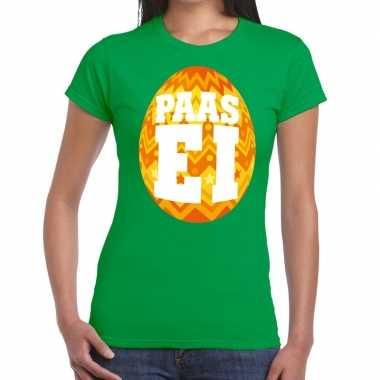 Pasen shirt groen oranje paasei dames