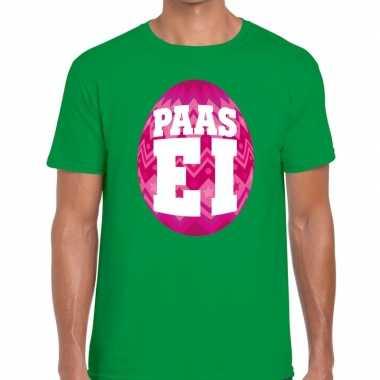 Pasen shirt groen roze paasei heren