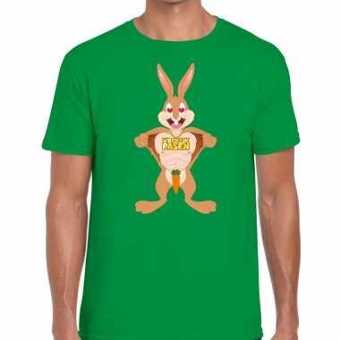 Pasen shirt groen verliefde paashaas heren