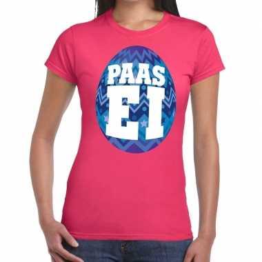 Pasen shirt roze blauw paasei dames