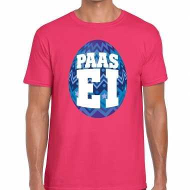 Pasen shirt roze blauw paasei heren
