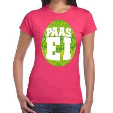 Pasen shirt roze groen paasei dames