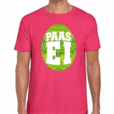 Pasen shirt roze groen paasei heren
