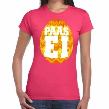 Pasen shirt roze oranje paasei dames