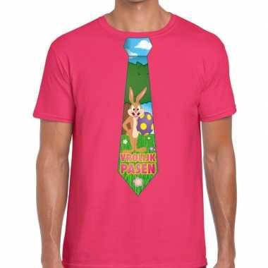 Pasen shirt roze paashaas stropdas heren
