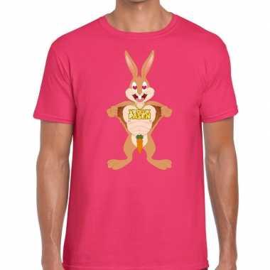 Pasen shirt roze verliefde paashaas heren