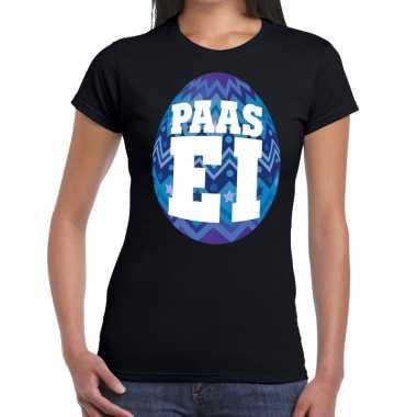 Pasen shirt zwart blauw paasei dames