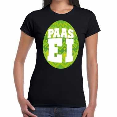 Pasen shirt zwart groen paasei dames
