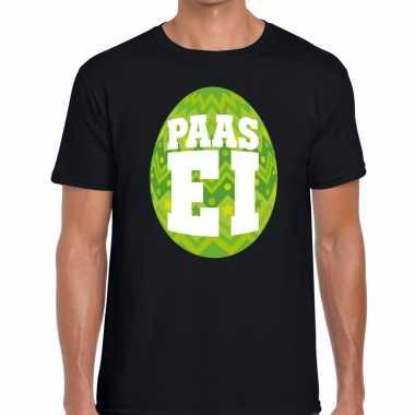 Pasen shirt zwart groen paasei heren