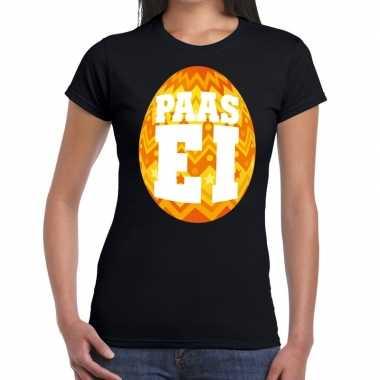 Pasen shirt zwart oranje paasei dames