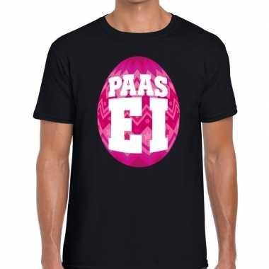Pasen shirt zwart roze paasei heren