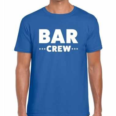 Personeel t shirt blauw bar crew bedrukking heren