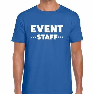 Personeel t shirt blauw event staff bedrukking heren
