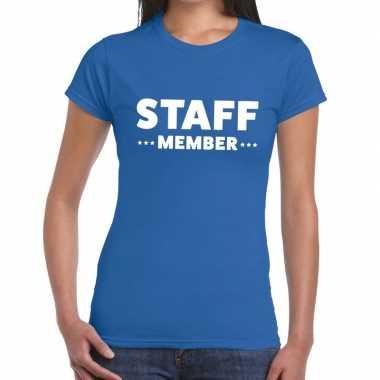 Personeel t shirt blauw staff member bedrukking dames