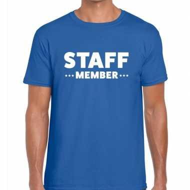 Personeel t shirt blauw staff member bedrukking heren