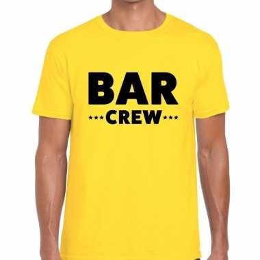Personeel t shirt geel bar crew bedrukking heren