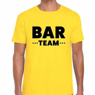 Personeel t shirt geel bar team bedrukking heren