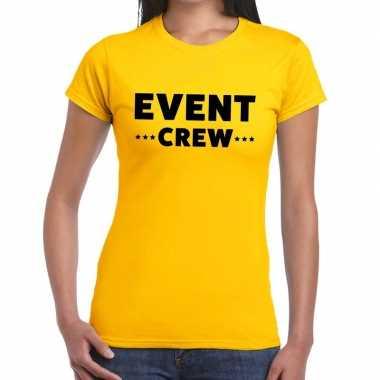 Personeel t shirt geel event crew bedrukking dames