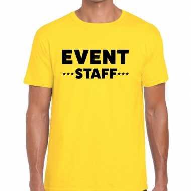 Personeel t shirt geel event staff bedrukking heren