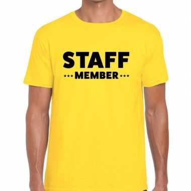 Personeel t shirt geel staff member bedrukking heren