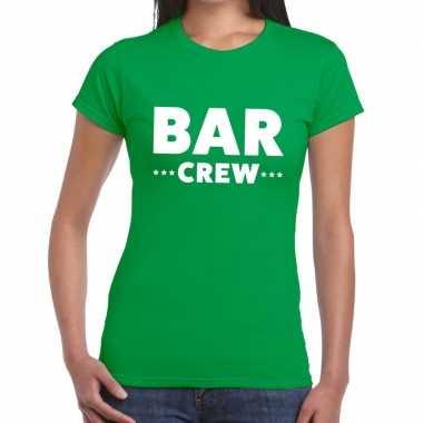 Personeel t shirt groen bar crew bedrukking dames