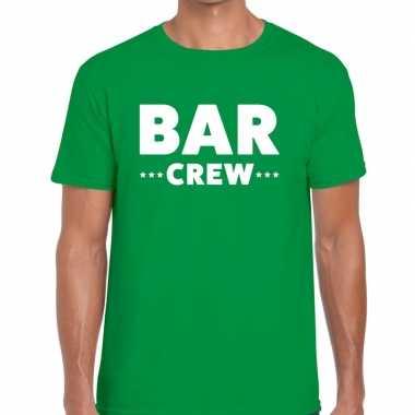 Personeel t shirt groen bar crew bedrukking heren